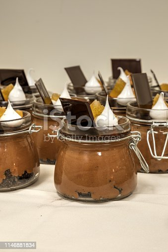Sweet Grand Marnier chocolate mousse dessert in a single serving jar.