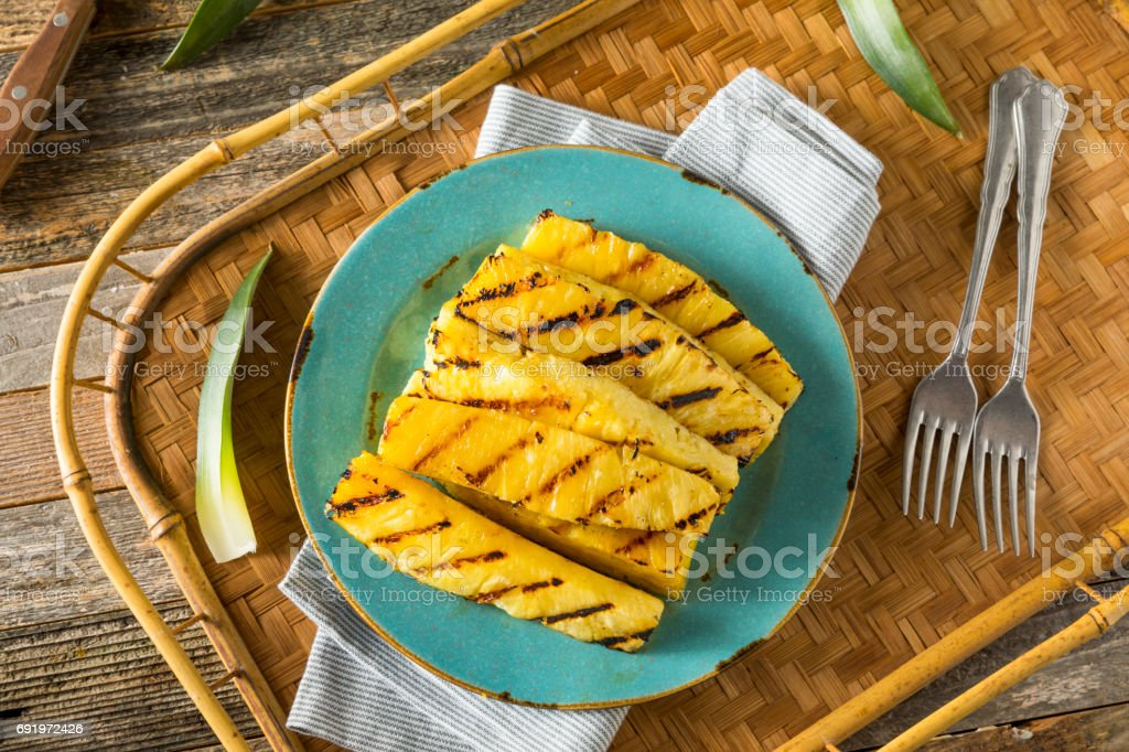Sweet Grilled Pineapple Slices stock photo