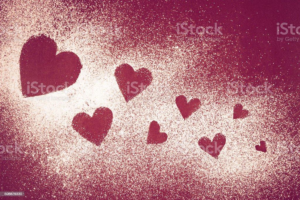 Sweet heart of icing sugar stock photo