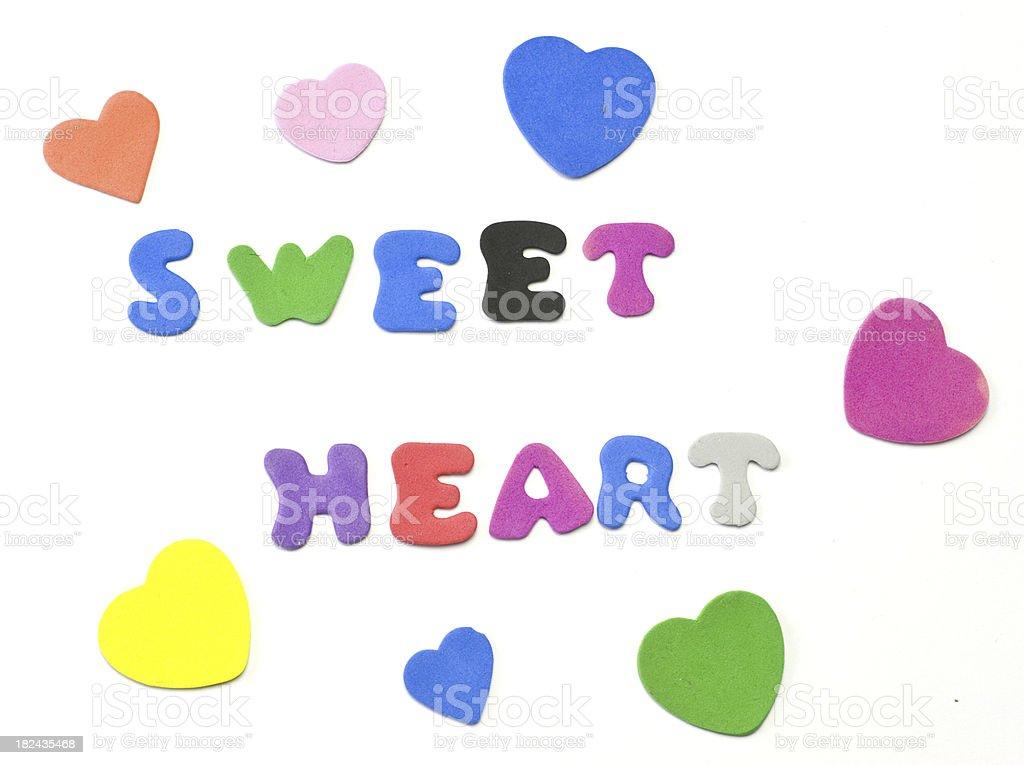 sweet heart word text stock photo
