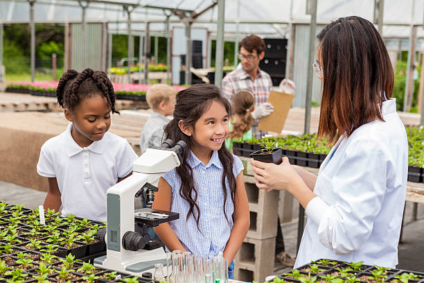 doce hispânico estudante aprender sobre plantas - teacher school solo imagens e fotografias de stock
