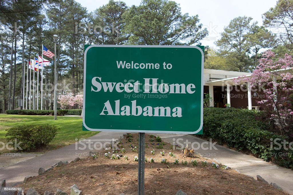 sweet home alabama welcome sign at rest area stop stock photo