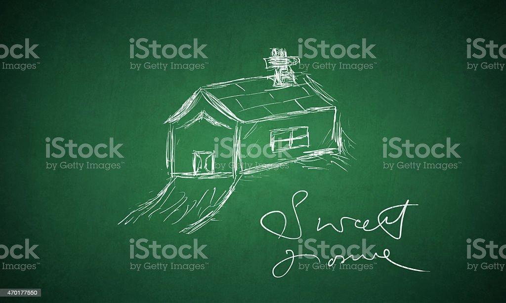 Sweet Home - drawn on green board stock photo