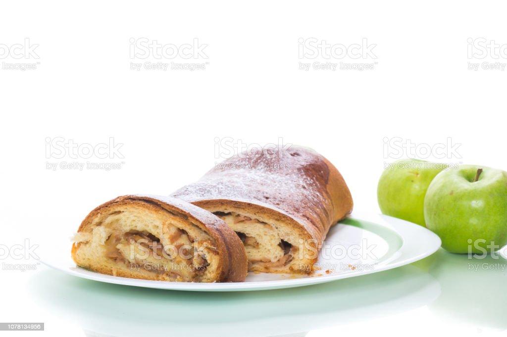 sweet homemade apple strudel isolated on white stock photo