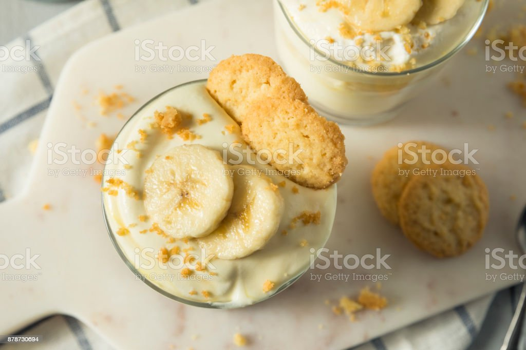 Sweet Homemade Banana Pudding stock photo