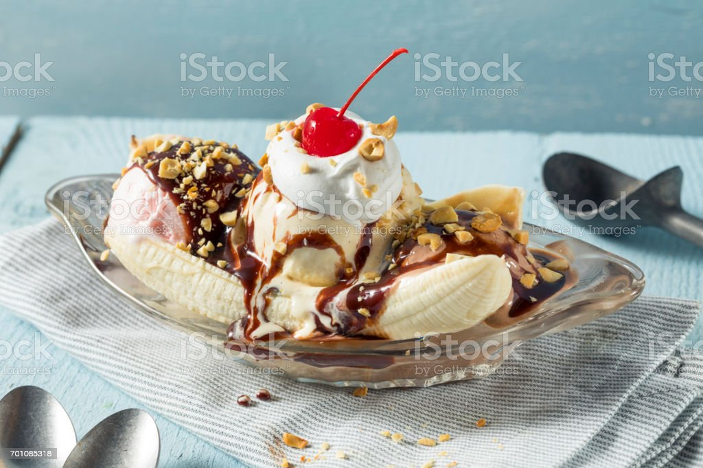 Sweet Homemade Banana Split Sundae stock photo