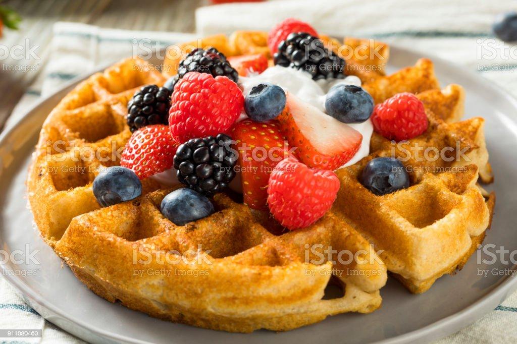 Sweet Homemade Berry Belgian Waffle stock photo