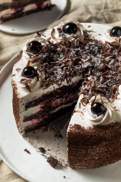 Sweet Homemade Black Forest Cake stock photo
