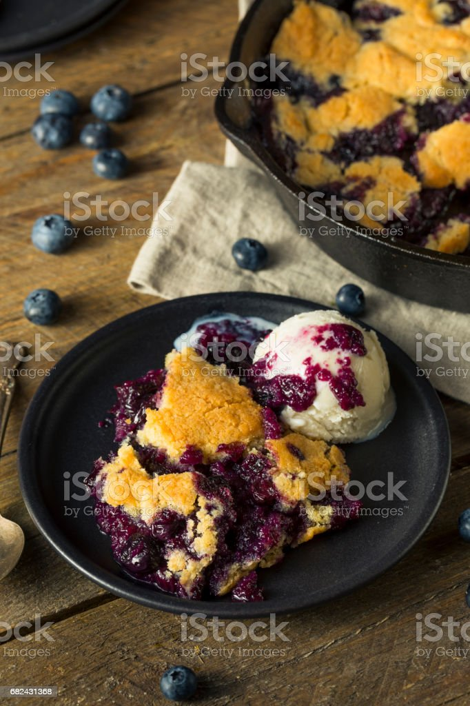 Sweet Homemade Blueberry Cobbler Dessert royalty-free stock photo
