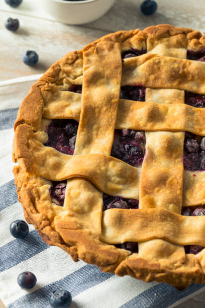 sweet homemade blueberry pie - blueberry pie stock pictures, royalty-free photos & images