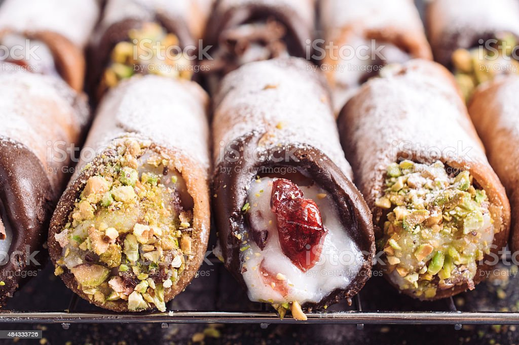 Sweet homemade cannoli stock photo
