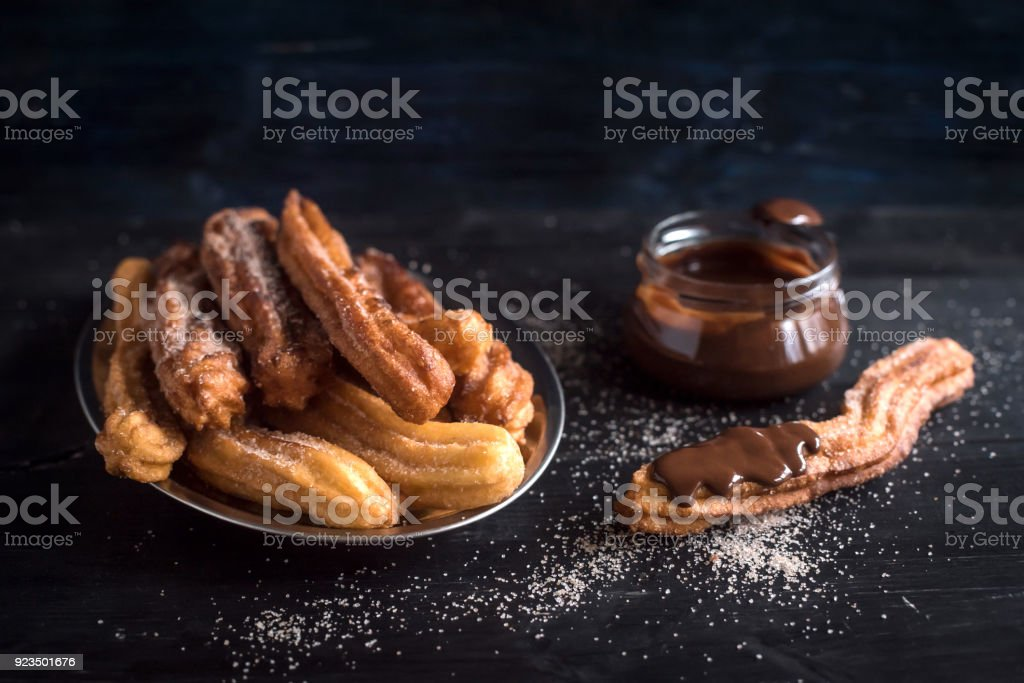 Sweet homemade churros stock photo