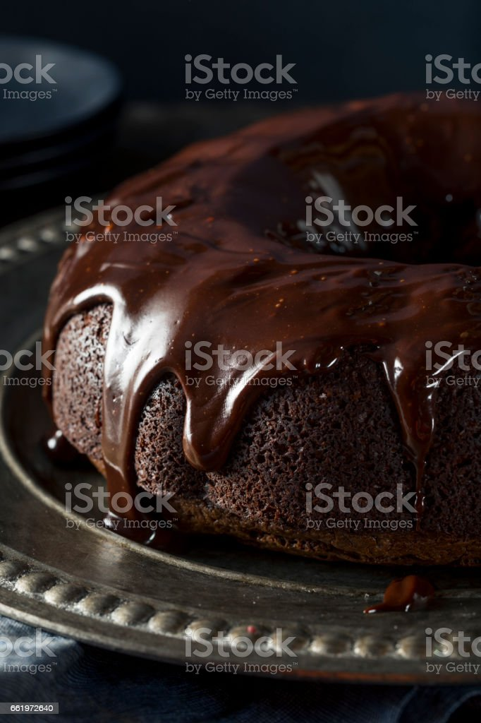 Sweet Homemade Dark Chocolate Bundt Cake royalty-free stock photo