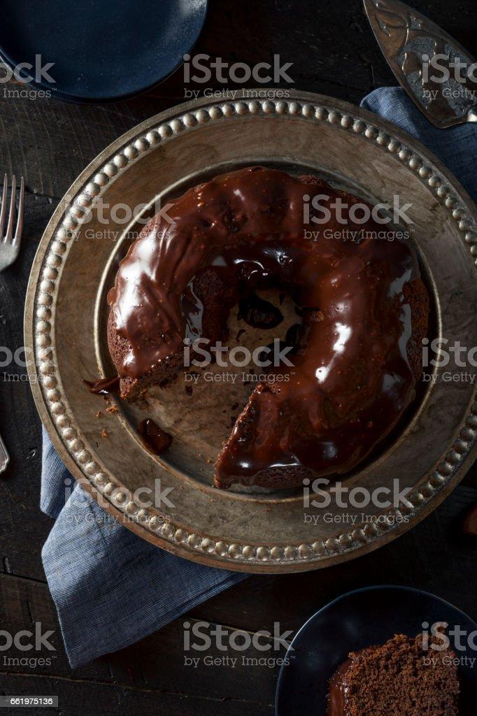 Sweet Homemade Dark Chocolate Bundt Cake stock photo