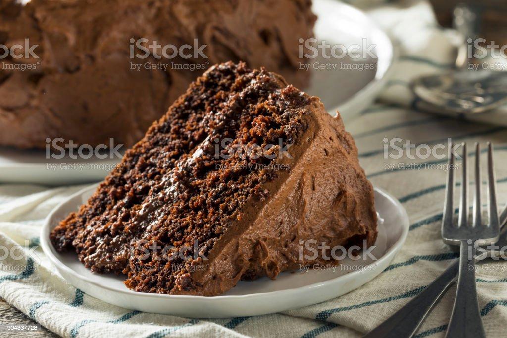 Sweet Homemade Dark Chocolate Layer Cake stock photo