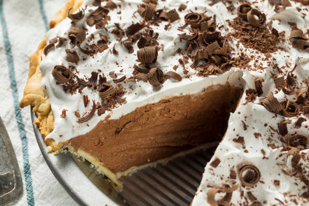 Sweet Homemade French Silk Pie Sweet Homemade French Silk Pie with Chocolate Shavings french culture stock pictures, royalty-free photos & images