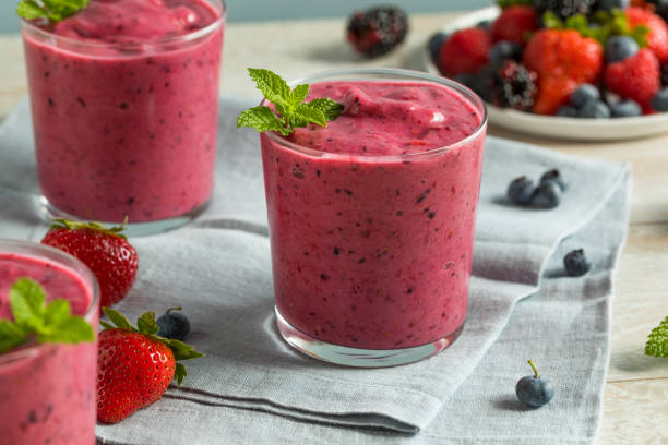 Sweet Homemade Healthy Berry Smoothie stock photo