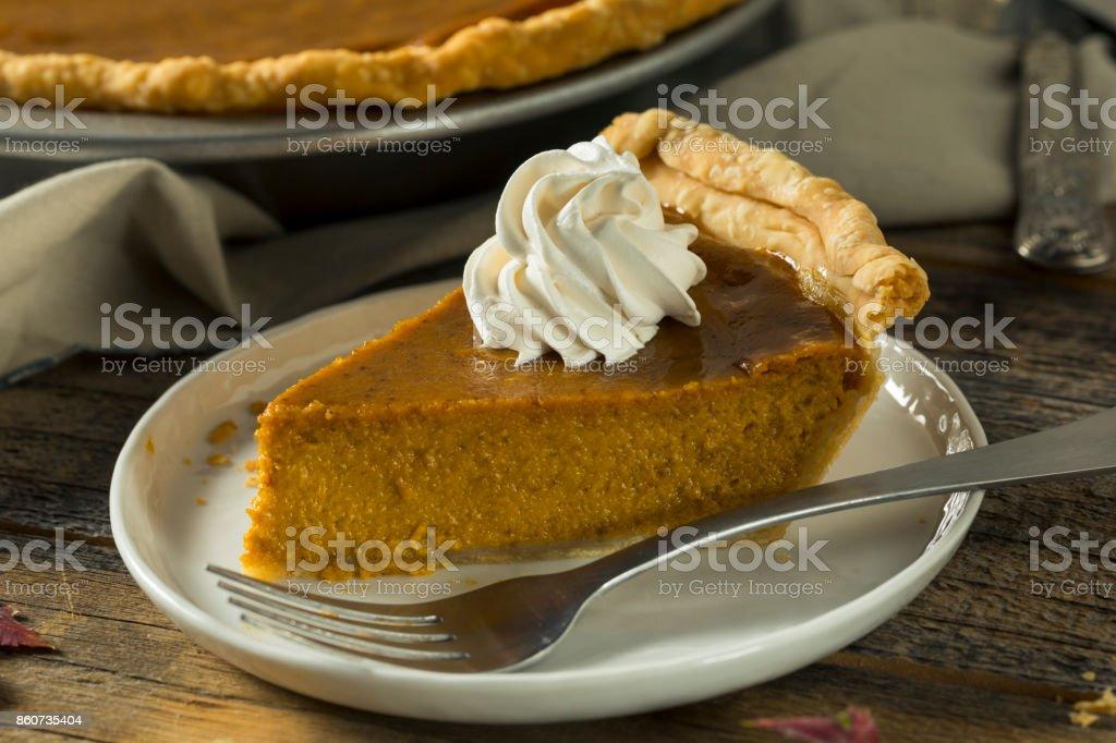 Sweet Homemade Orange Thanksgiving Pumpkin Pie Ready to Eat