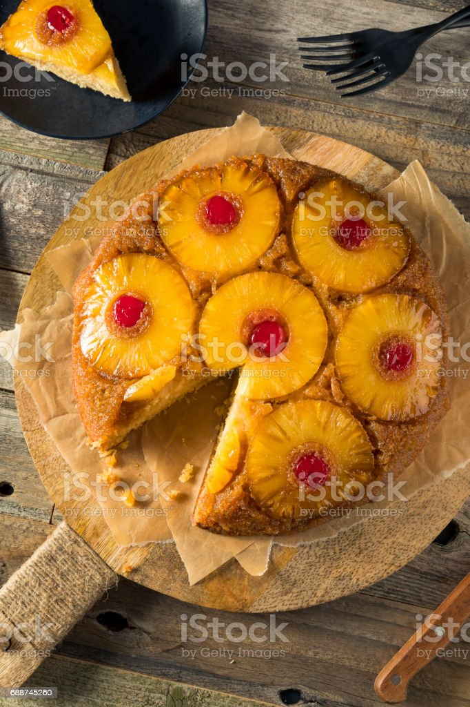 Sweet Homemade Pineapple Upside Down Cake stock photo