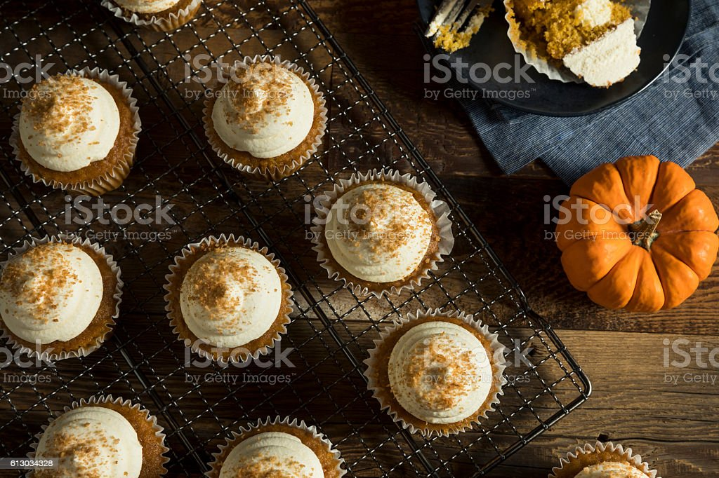 Sweet Homemade Pumpkin Spice Cupcakes stock photo