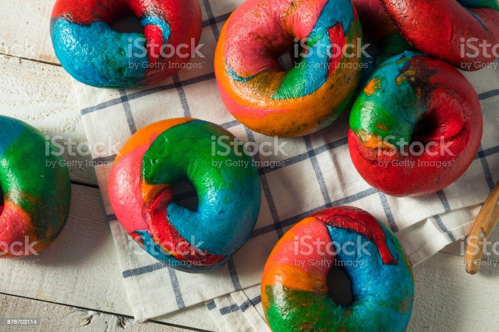 Sweet Homemade Rainbow Bagels stock photo