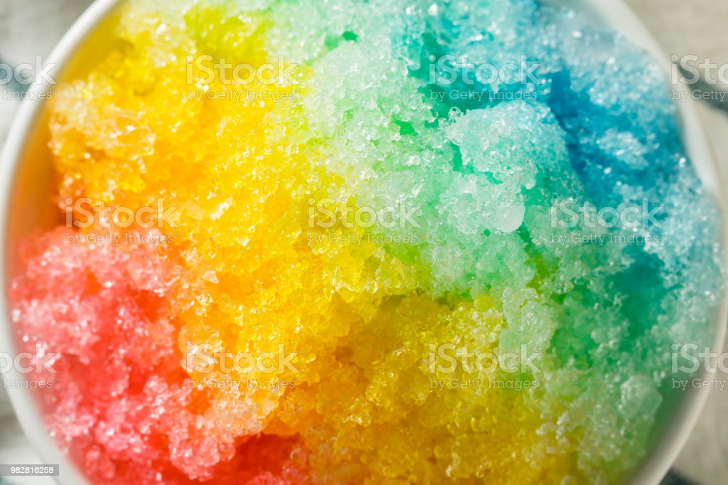 Sweet Homemade Shaved Rainbow Hawaiian Ice stock photo