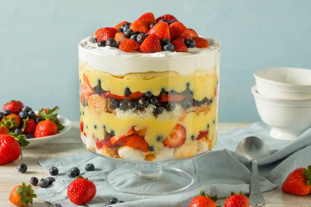 süße hausgemachte erdbeer trifle dessert - käsekuchen kekse stock-fotos und bilder