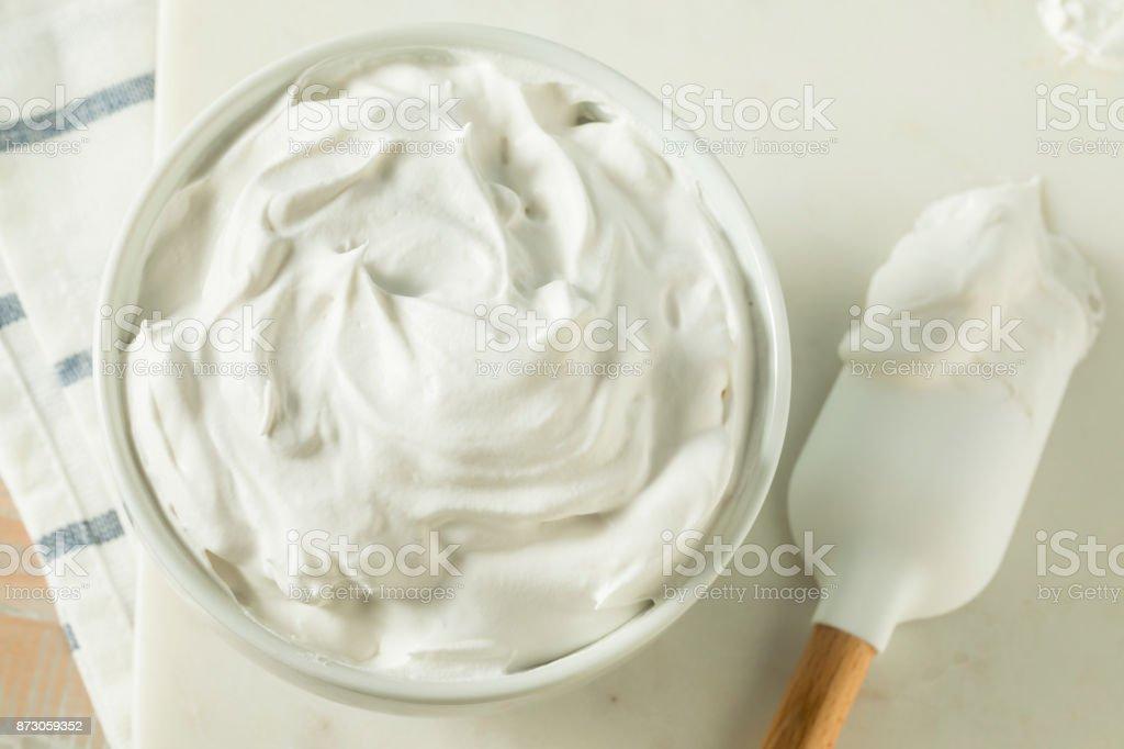 Sweet Homemade Vanilla Whipped Cream stock photo