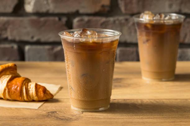 Sweet Iced Almond Milk Coffee stock photo