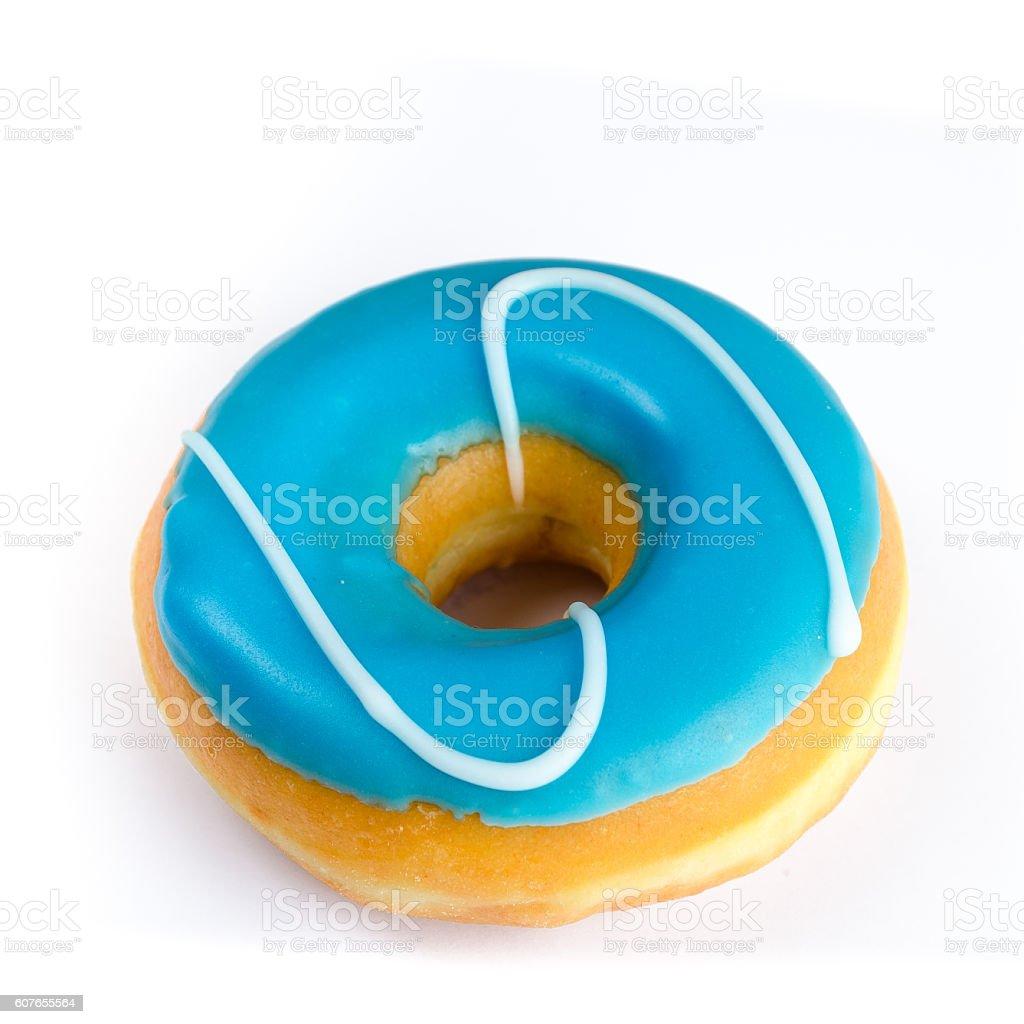 Sweet iced blue donut stock photo