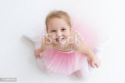 istock Sweet little ballerina in pink tutu 518884930
