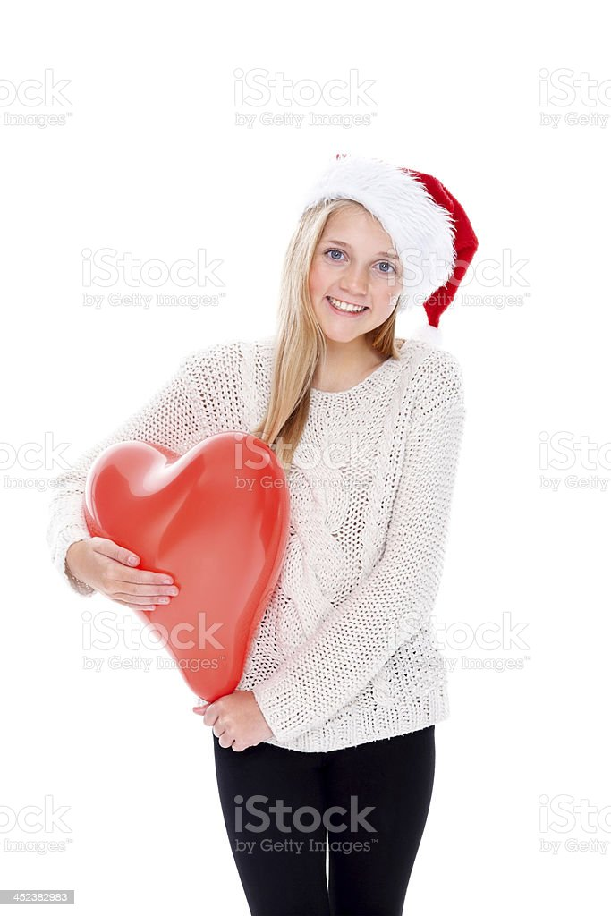 Sweet little Christmas girl with balloon royalty-free stock photo