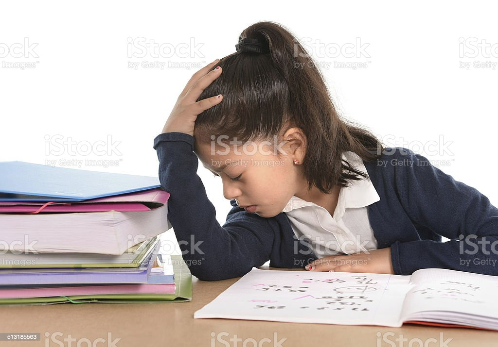 sweet little girl bored under stress with tired facial expression stock photo
