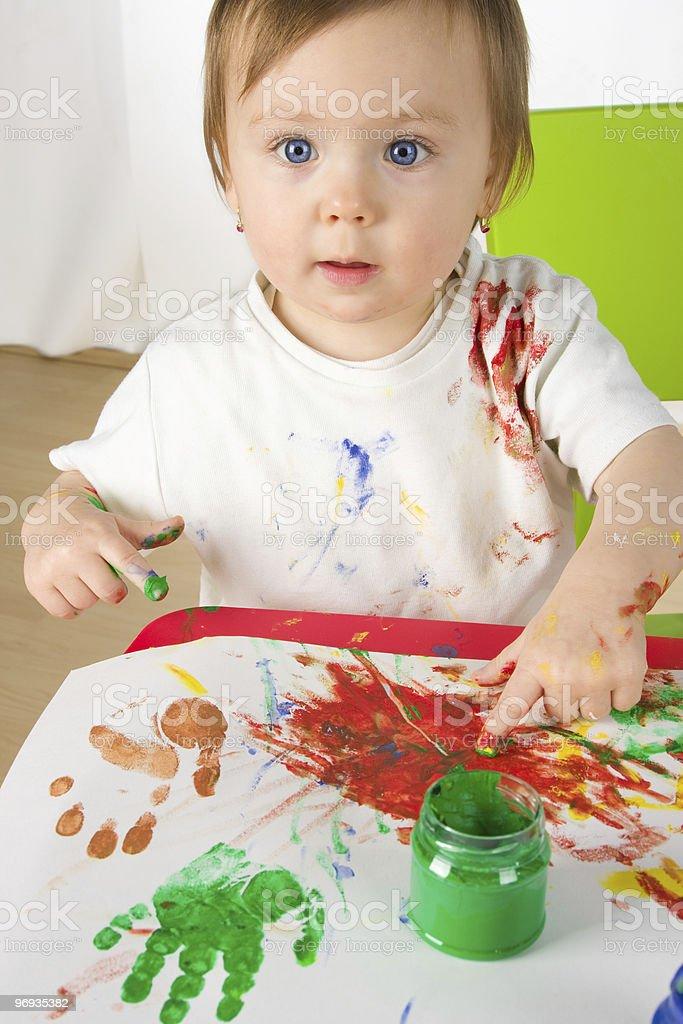 sweet little paintress royalty-free stock photo