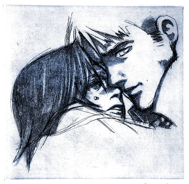 sweet lonely hug - manga style stock photos and pictures
