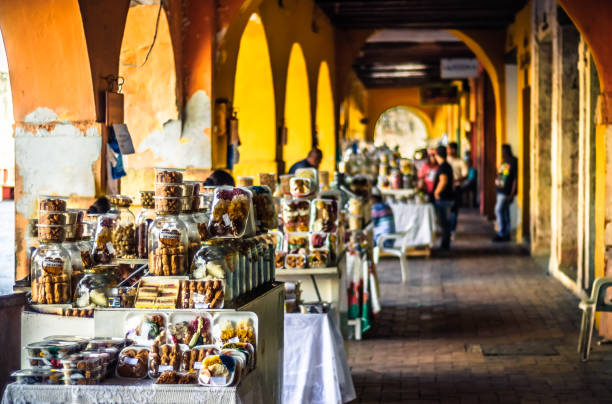 sweet market by portal de los dulces in cartagena - colombia - cartagena museum stock photos and pictures