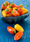 Fresh and colorful mini peppers in a white bowl on a blue wooden background
