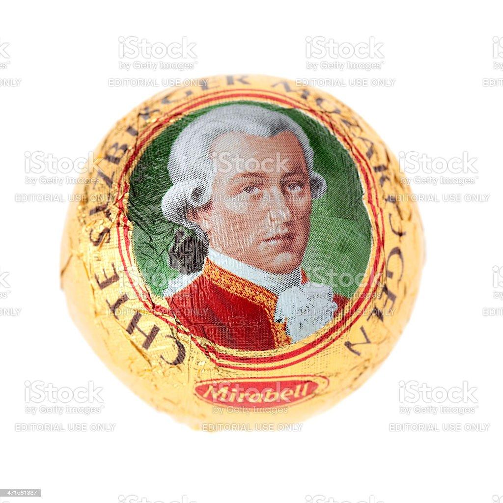 sweet mozartkugel isolated on white stock photo