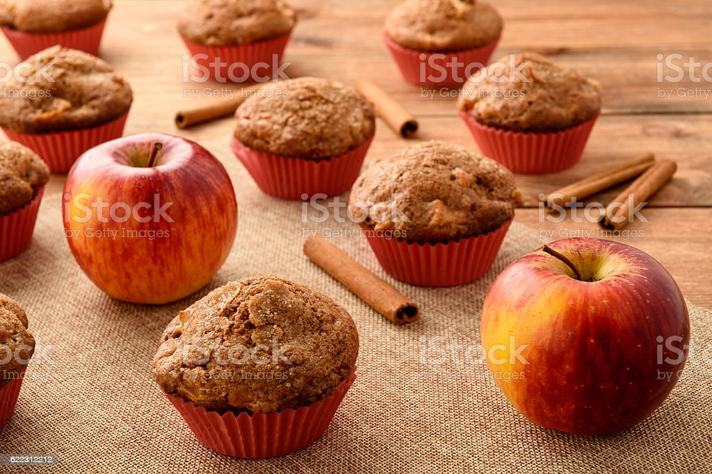 Sweet muffins with apples and cinnamon. stock photo