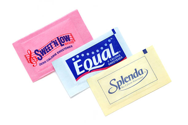 Sweet N Low, Equal, and Splenda artificial sweeteners stock photo