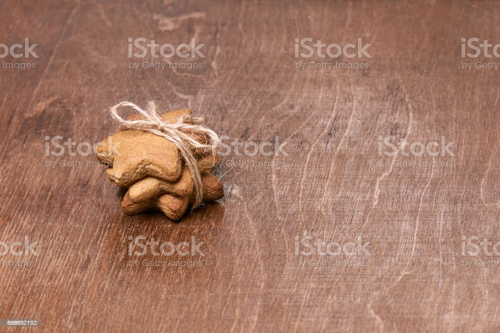 Sweet New Year gift. Gingerbread Cookie stock photo