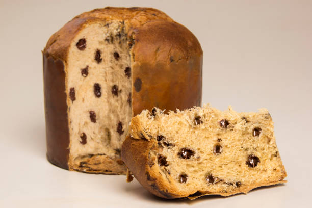 sweet panettone, typical italian dessert for christmas and easter. - panettone foto e immagini stock