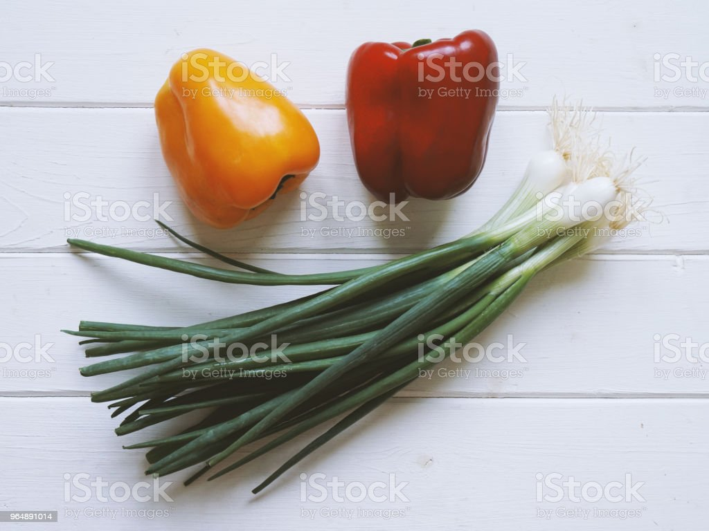 sweet pepers and scallions royalty-free stock photo