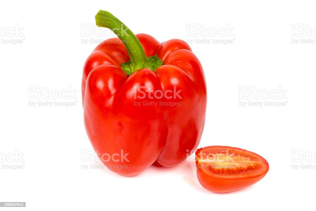 sweet pepper and half tomato royalty-free stock photo