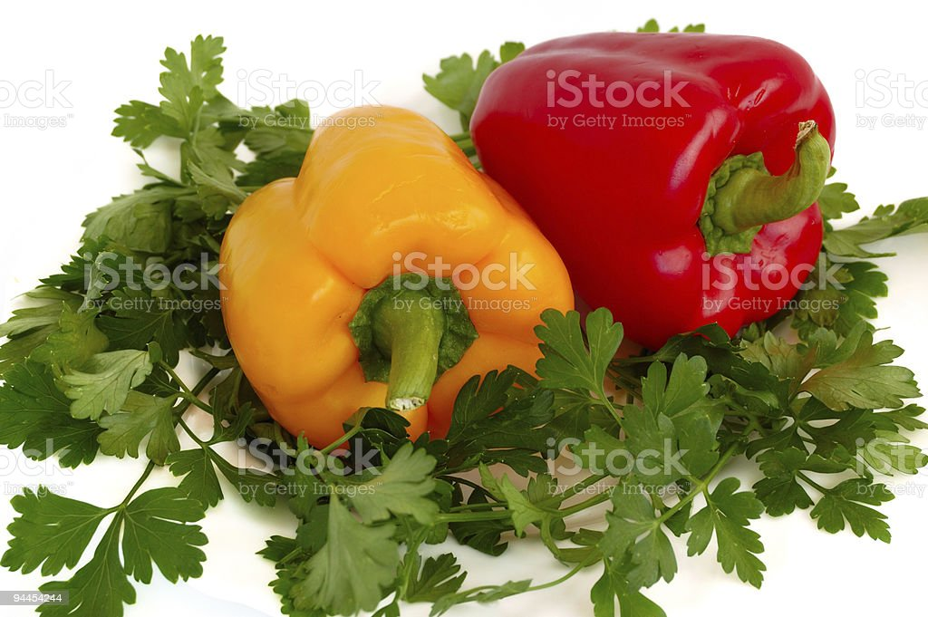 sweet pepper and parsley royalty-free stock photo