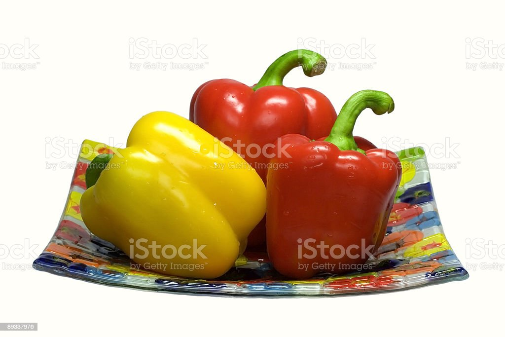 Sweet pepper on a glass plate. royalty-free stock photo