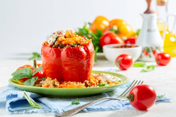Sweet pepper stuffed with bulgur and vegetables. stock photo