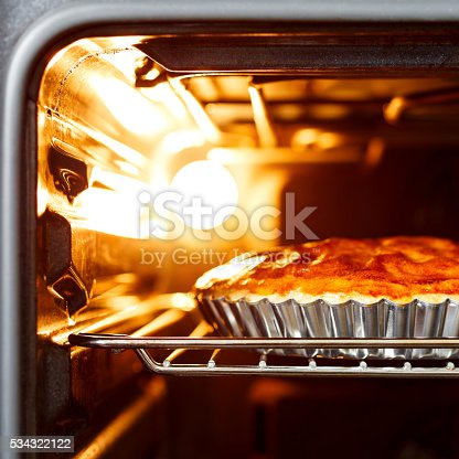 Sweet pie in hot stove