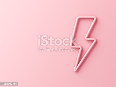 istock Sweet pink lightning or thunder isolated on pink pastel color wall background with shadow 1281043791