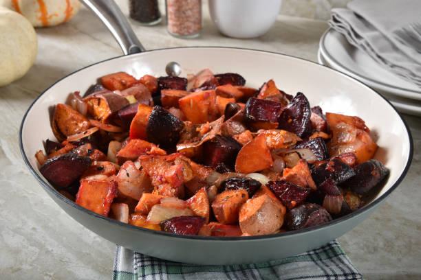 Sweet potato and beet hash stock photo